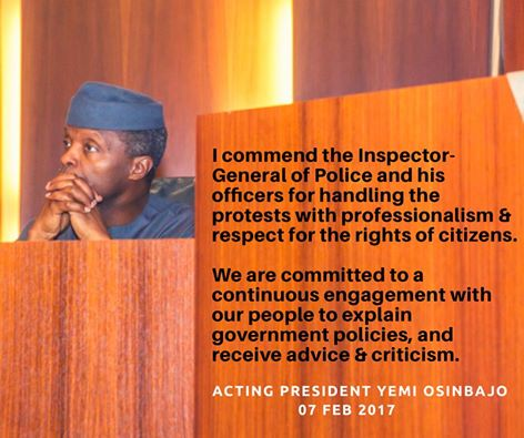 ImageFile: Osinbajo to #iStandWithNigeria protesters: Recession'll soon be history