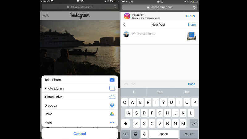 You can now share pictures on Instagram without the app