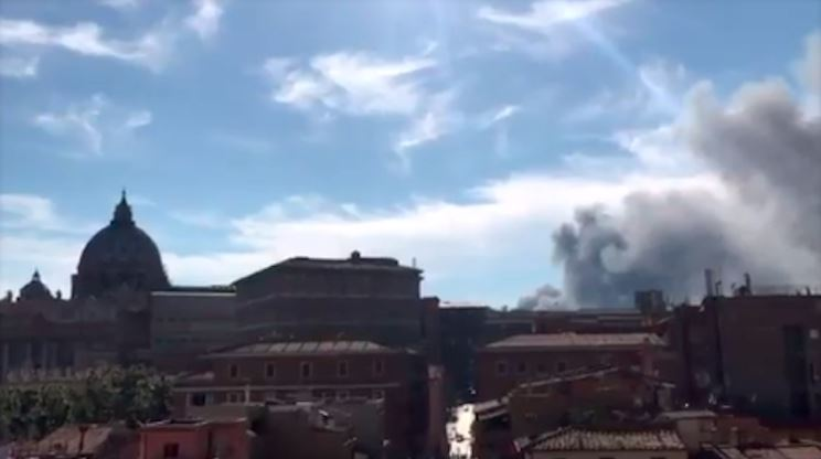 PHOTOS/VIDEO: Black smoke fills the sky above Vatican amid reports of explosion